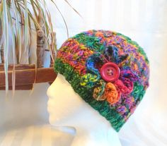 Handspun Cable Beanie. Knit Hat. Bright Colors Hat. Snow Hat. Green. Orange. Red. Purple. Beanies for Women. Primary Colors. Hat with Flower by JoyfulHandKnits on Etsy
