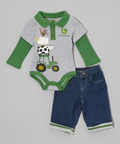 Another great find on #zulily! Heather Gray Layered Bodysuit & Jeans - Infant by John Deere #zulilyfinds