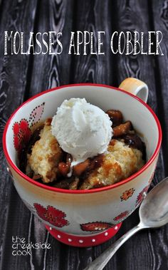 It's apple time! Easy and delicious, this is a perfect dessert for any fall meal: Molasses Apple Cobbler - The Creekside Cook