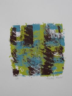 Original, 3 colour, hand printed silkscreen, one of a kind, signed, 5 X 5, Abstract 1