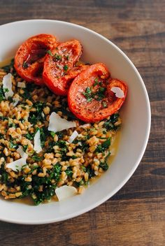 farro + kale risotto with roasted tomatoes