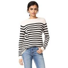 Vince Engineered Striped Pullover ($160) ❤ liked on Polyvore featuring tops, sweaters, pullover sweater, stripe sweater, lightweight sweaters, long sleeve pullover and striped pullover