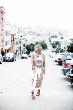 3c5415f654d visiting San Francisco outfit in Old Navy extra long cardigan and striped  tee shirt Casual Summer