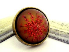 Ring with real dried red flowers - bronze