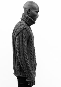 Olivier Geraghty. Men's cable sweater. Wow