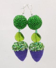 needle felted jewelry | Needle Felted Drop Earrings w Beads