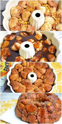 Apple Cinnamon Monkey Bread Recipe made with Honey Bunches of Oats Apples and Cinnamon Bunched - Easy Monkey Bread recipe for breakfast or dessert. Easy Desserts, Delicious Desserts, Dessert Recipes, Yummy Food, Apple Desserts, Apple Recipes, Bread Recipes, Monkey Bread, Bread Pudding With Apples