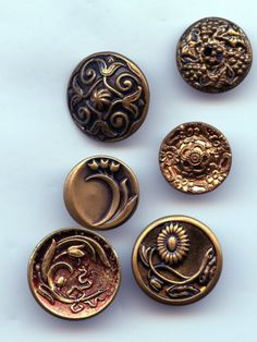 6 antique and vintage brass flower buttons