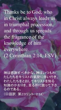 Thanks be to God, who in Christ always leads us in triumphal procession, and through us spreads the fragrance of the knowledge of him everywhere.(2 Corinthian 2:14, ESV)神は感謝すべきかな。神はいつもわたしたちをキリストの凱旋に伴い行き、わたしたちをとおしてキリストを知る知識のかおりを、至る所に放って下さるのである。  (口語訳 第2コリント 2:14)