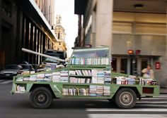 Weapon of Mass Instruction | a 1979 Ford Falcon that has been transformed into a 900 book roving library resembling a military tank