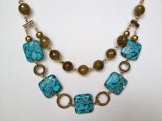 DO THIS ONE Double strand with beads and rectangle gemstone Statement Necklace by Hibiscus03 on Etsy, $60.00