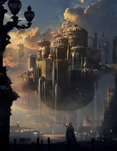 [image] Title: Sunset Castle Name: Mai Anh Tran Country: Canada Software: Photoshop Submitted: September 2014 Did this matte painting illustration based on Park Jong Won's concept art. Fantasy City, Fantasy Castle, Fantasy Places, Fantasy Kunst, Sci Fi Fantasy, Fantasy World, Fantasy Dragon, Fantasy Artwork, Fantasy Concept Art