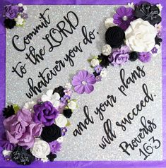 Commit to the Lord whatever you do... Proverbs 16.3 Custom Glitter Graduation Cap Decoration Flowers! Customize colors and saying by GlitterMomz on Etsy