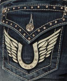 Miss Me horseshoe & wing applique @Bootlegger #calgarystampede
