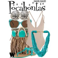 A Beach Ready look Inspired by Disney's Pocahontas in 1995's Pocahontas.