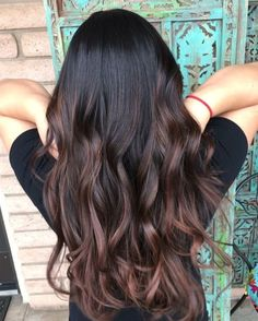 Long Wavy Ash-Brown Balayage - 20 Light Brown Hair Color Ideas for Your New Look - The Trending Hairstyle Dark Balayage, Brown Hair Balayage, Brown Hair With Highlights, Auburn Balayage, Color Highlights, Balayage Highlights, Balyage For Dark Hair, Ombre For Brown Hair, Asian Brown Hair