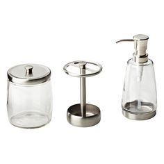 Delta 3-Piece Bathroom Countertop Accessory Kit with Soap Pump, Toothbrush Holder and Apothecary Jar in Satin Nickel