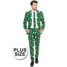 Groot Feest kostuum Kerstmis print groen  Grote maat heren kostuum met kerst print. Groen getailleerd pak voor heren met een all-over print in kerst thema. Het pak is gemaakt van hoogwaardig polyester en wordt geleverd met bijpassende stropdas.  EUR 74.95  Meer informatie