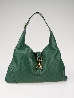 66462ceff Gucci Green Guccissima Leather Jackie O Handbag!! Love It!! Suitcases, Green