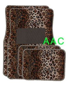 A Set of 4 Universal Fit Animal Print Carpet Floor Mats for Cars / Truck - Leopard
