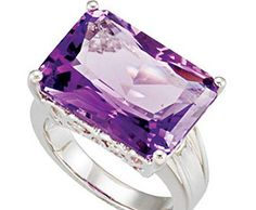 GemAffair Sterling Silver Amethyst Ring - Solitaire Cocktail ►►  http://www.gemstoneslist.com/jewelry/silver-amethyst-rings.html?i=p