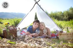 tent camping engagement photos... with wine <3