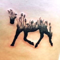 Horse silhouette flowers tattoo is a very powerful, nature inspired image. It stands for harmony, freedom, love and calm. Color: Black. Tags: Best, Easy, Elegant
