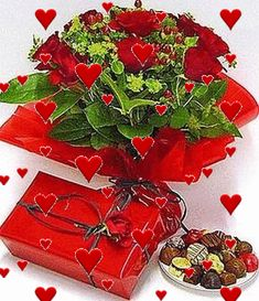 Valentines Gif, Happy Valentines Day Images, Romantic Flowers, Love Flowers, Bisous Gif, Beautiful Red Roses, Beautiful Hearts, Love Heart Images, Happy Birthday Wishes Images