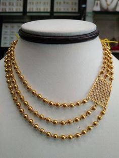 Latest 3-layer gold gundu mala with square mugapu studded with zirconium stones.<br>