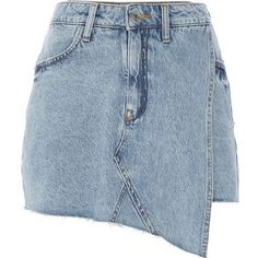 River Island Mid blue denim skort ($70) ❤ liked on Polyvore featuring skirts, mini skirts, bottoms, blue, skorts, women, blue mini skirt, blue skirt, river island and tall skirts