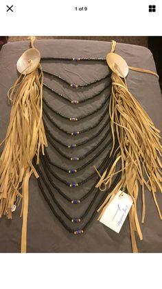 Native American Made breastplate crow style Loop necklace pow wow regalia Large American Made, Native American, Celtic Crafts, Crow Indians, Pow Wow, Headdress, Handmade Art, Nativity, Glass Beads