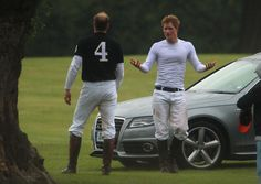 Isn't a polo match more important than a baby...c'mon bro, play on! Prince William and Prince Harry playing Polo at The Senteble Polo Cup ...