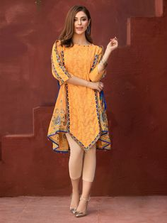 Edenrobe Embroidered Cotton Net Stitched Kurtis 066569 in 2020 (With images) Pakistani Fashion Casual, Pakistani Formal Dresses, Pakistani Dress Design, Stylish Dresses For Girls, Casual Dresses, Stylish Dress Book, Casual Frocks, Girls Designer Dresses, Girls Dresses Sewing
