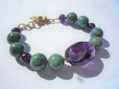 Gemstone bracelet, Gemstone beaded bracelet, Green bracelet, African Jade semiprecious gemstones bracelet, Fluorite focal bead