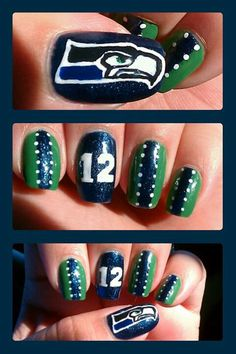 Of all my Seattle Seahawks nail designs, I still love these nails the most! <3