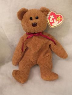 d00d7034cf4 RARE Curly the Bear Ty Beanie Babies No Stamp PVC Pellets With Errors  Ty