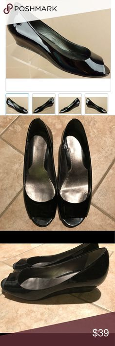 """Cole Haan Nike Air Black Patent Peep Toe Flats Super comfy and cute. Perfect for work Cole Haan black patent ballet flats. The Nike Air footbeds provide a comfortable fit for all day wear. Heel is about 3 1/8"""". Well-loved but lots of life left in them. Cole Haan Shoes Flats & Loafers"""