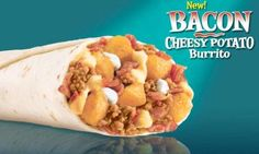 Taco Bell Restaurant Copycat Recipes: Bell Bacon Cheesy Potato Burrito Made this, easy, quick and the kids loved it. Taco Bell Recipes, Mexican Food Recipes, Sweet Recipes, Burrito Recipes, Yummy Recipes, Hamburger Recipes, Bacon Recipes, Sandwich Recipes, Tortilla Wraps