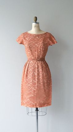 Vintage 1950s terra cotta lace sheath dress with subtle gathered neckline, short sleeves, fitted waist and metal zipper. --- M E A S U R E M E N T S