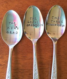Harry Potter's Pub Spoons Pre-Owned Or New Flatware The Hog's Head, The Leaky Cauldron, The Three Broomsticks