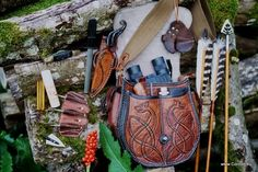 Archery accessories and archers bag detail.