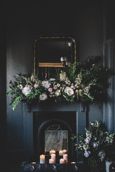Fireplace | Floral Installation | Dark Hues For An Intimate Wedding Inspiration Shoot At The Green Man Winchester With Stationery By Geri Loves Emi And Images From Carrie Lavers Photography