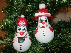 Mr and Mrs Snowman Light Bulb Christmas Ornament