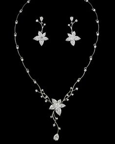 Stunning CZ Crystal Flower Jewelry Set - so pretty for your quinceanera! Affordable Elegance Bridal -