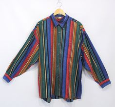 Vintage Clothing • 1990's Menswear • Casual Long Sleeve Button Up Shirt • Multi-Coloured • Funky 90's Rainbow Textured Stripe • Streetwear