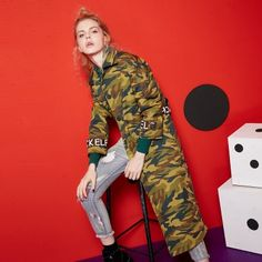 Elf Sack Autumn BF style split women camouflage long trenchcoat with belt| elfsack