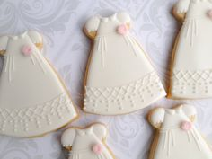 White Christening Gown /Dress Cookies with by thesweetesttiers