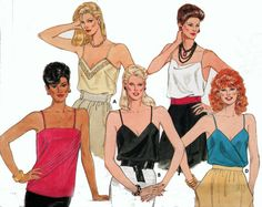 Vintage 80s Butterick 6375  Camisole Top Sewing by sandritocat, $5.00