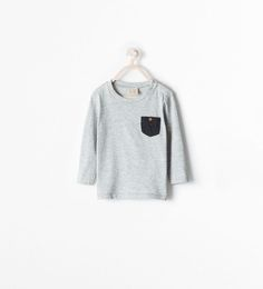 LONG SLEEVED T-SHIRT WITH POCKET from Zara