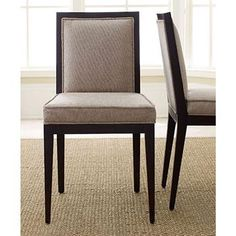 Tudor Dining Chair with Dark Beige Fabric Seat and Back (Set of 2)